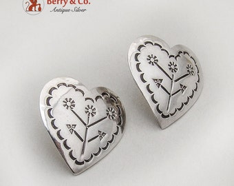 Mexican Engraved Heart Post Earrings Sterling Silver