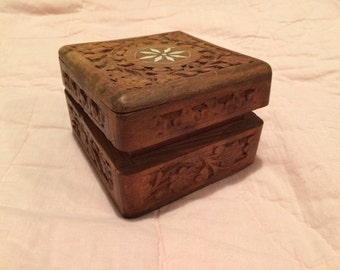 Antique hand carved wooden jewelry box, keepsake, flowers, vintage, Inlayed, Wooden box, Antique jewelry box, jewelry box, wedding ring box