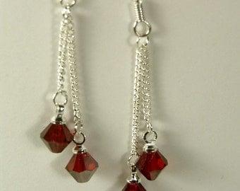 """Cynthia Lynn """"CELEBRATE"""" Sterling Silver Swarovski Crystal Birthstone Earrings 1.75"""""""