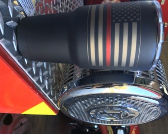 American Flag  with Thin red line/Thin Blue line YETI, RTIC, OZAR Trail tumbler