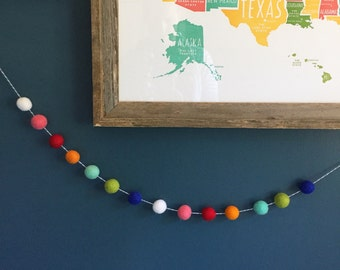 Merry and Bright Felt Pom Garland Bunting | Vintage C9 Christmas Light Inspired