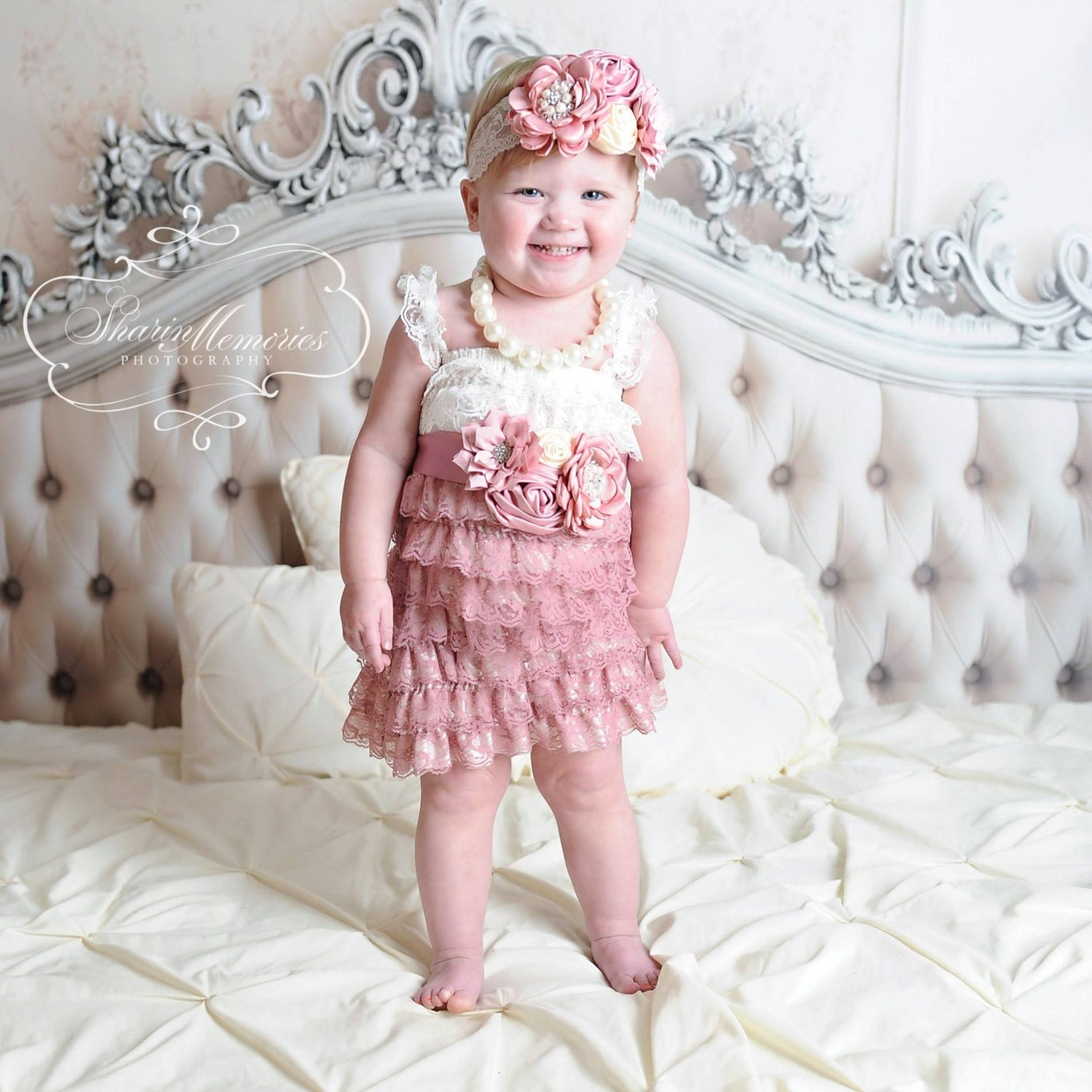 Ivory Lace Dress Baby Romper Baby Girl by