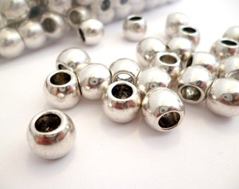Shiny Silver Large Hole Metal Beads_NG084530R/B_Large Hole Metal Beads Of 12x9 mm_ hole 6 mm_ pack 10 pcs