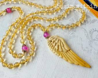 Archangel Gabriel Mala Beads | Citrine Angel Necklace | Angel Wing Prayer Beads | Guardian Angel Jewelry