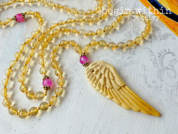 Archangel Gabriel Mala Beads / Citrine Angel Necklace / Angel Wing Prayer Beads / Guardian Angel Jewelry