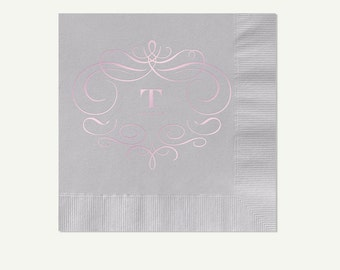 Light Gray Beverage Napkins | Pink Foil Pressed Monogram (3 Ply) Cocktail Napkins | Custom Silver (Gray) Appetizer And Dessert Napkins