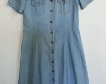 Robbie Bee Petite Modest Dress size 10 Light Blue Cotton Button Front Shirt-maker Style with Flare Bottom
