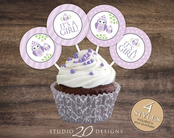 """Instant Download 2"""" Lilac Owl Cupcake Toppers, Purple Owl Baby Shower Cupcake Toppers, It's a Girl Cupcake Toppers, Owl Tags, Owl Pops #23H"""