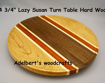 "14 3/4"" Lazy Susan Turntable Hardwood With Lip"