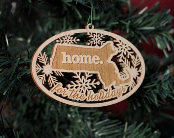Engraved Wood Christmas Ornament- All 50 States Available and Canada