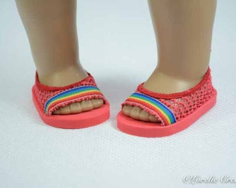 American Girl or18 inch doll SHOES SANDALS beach Flipflops Peeptoe Flats in Red LACY Look with Multicolor Striped Trim