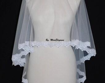 Bridal veil, Wedding veil. Lace edge veil. Drop veil. kate middleton style drop veil. Lace edge veil. Waist Length veil.