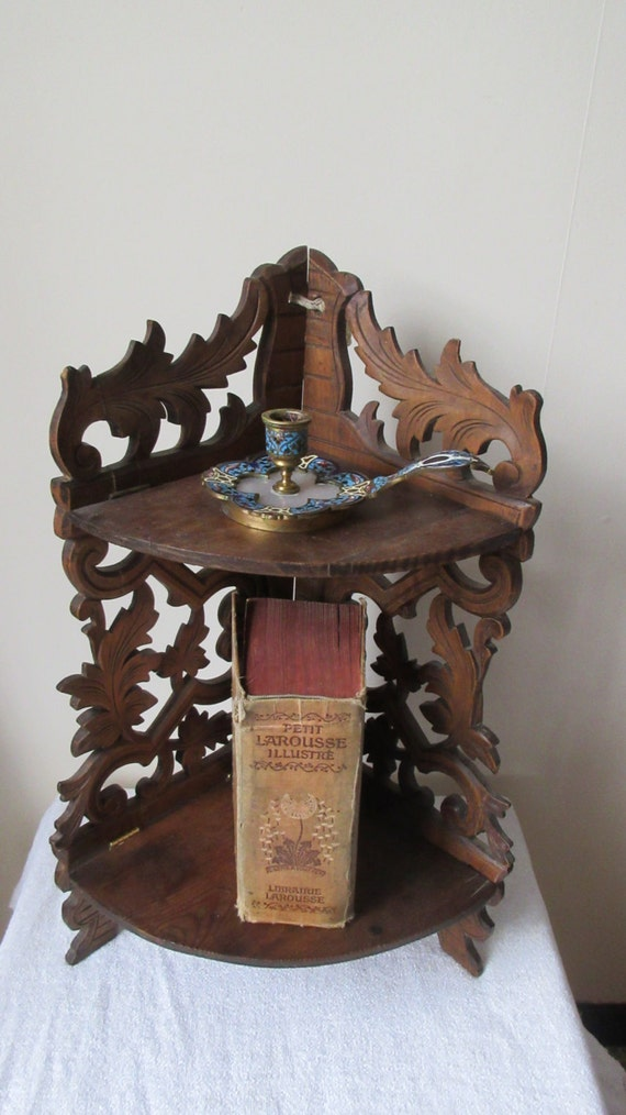 Delightful carved corner shelf unit vintage french free