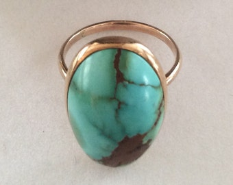 Turquoise Engagement Ring - Vintage Art Deco 1940's 10ct Yellow Gold Cabohon - Size 4 1/2 Alternative Wedding Antique Fine Statement Ring