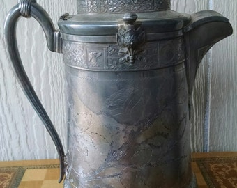 Impressive Antique 1800's Victorian Reed and Barton Silver Plated Ice Pitcher with Ornate Bear Handle