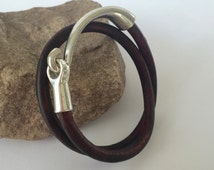 Chocolate Brown Double Wrap Leather Bracelet, Antique Silver Hook Clasp, Leather Bangle, Brown and Silver, Unisex, Women's Leather Bracelet