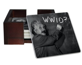 What Would Einstein Do? Coaster Set - Sandstone Tile with Cork Back - 4 Piece Set -  Wood Box Caddy Included