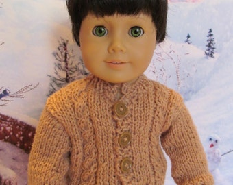 18''Doll Tan Sweater Fits All 18''Boy Dolls,Outer Wear, Front Cable Stitch Sweater,Boys Outerwear, Winter wear, Play sweater Everyday wear