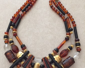 Brown Triple Strand Necklace   #108