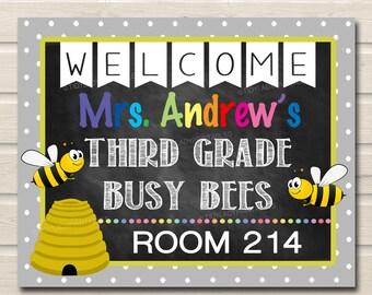 Printable Teacher Classroom Door Sign Bee Decor Hanger Custom