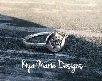 Princess Ring, crown ring, skinny band stack ring, Sterling Silver Argentium Silver Stack Rings, stamped gemstone rings, stamped jewelry