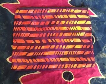 Batik Tie Dye Zipper Pouch, Make Up Bag
