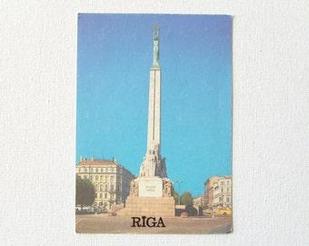 Vintage Riga postcard - Latvia Riga Freedom Monument Milda 1988