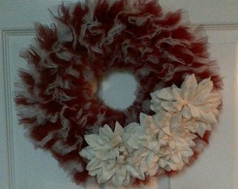 Beauty in Red and White Tulle Wreath