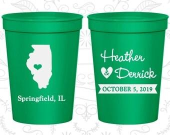 Illinois Wedding Cups, Illinois Wedding, Custom Cups, Destination Wedding, State Cups, logo cups (112)