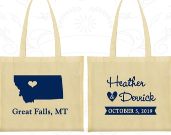Montana Wedding, Montana Tote Bags, Personalized Welcome Bags, Destination Wedding Bags, State Tote Bags, Wedding Bags (125)