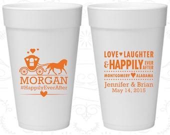 Love Laughter, Custom Styrofoam Cups, Fairy Tale Wedding, Princess Carriage, Foam Cups (552)