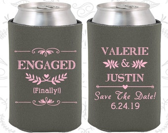 Engagement Party (C482) Custom Wedding Favors, Save the Date Wedding, Engagement Favors, Rehearsal Dinner, Personalized Can Coolers