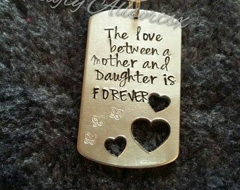 A Mother and daughters love ideal mothers day gift handstamped keyring