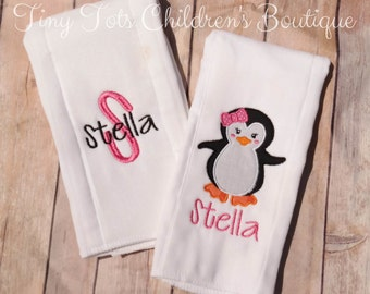 Penguin Burp Cloth Set - Monogram Burp Cloth Set - Embroidered Burp Cloths - Personalized Baby Girl Burp Cloth Set