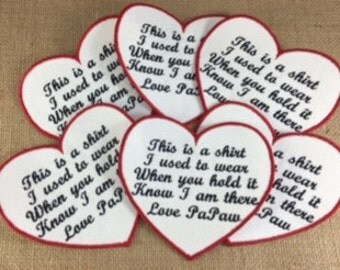 SET of 6 - IRON ON Heart Shaped Memory Patches - 4.5 Inch , Memorial Patch, This is a shirt I used to wear, Shirt Pillow Patches