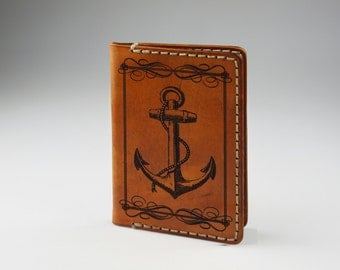 Mens Leather Credit Card Wallet  -  Engraved Anchor #3