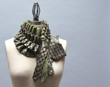 Upcycled Necktie Scarf - Unique Scarf Made From Ruffled Vintage Repurposed Men's Silk Ties Steampunk Victorian Accessories Unique Gift