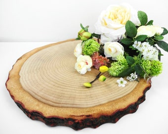 "13"" Wood Slice, Wood Slice Cake Stand, Tree Cake Stand, Stump, Bark Wood Slice, Wedding Cake Stand, Wood Round,Large Wood Slice"