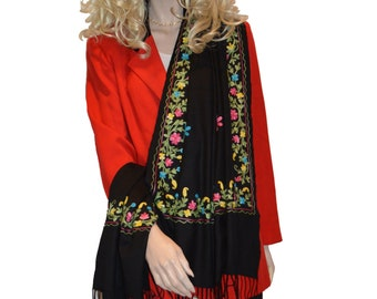 Scarf/Scarves/Shawl/Shawls/Embroidery Shawl from Cashmere Pashmina Group (05)