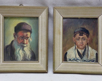 Pair of Vintage Boy & Old Man Paintings on Board w. Antique Decor Wood Frames