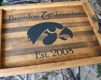 University Team Logo Rustic Wooden OTTOMAN TRAY Personalized Coffee Table Tray Shower Gift Anniversary Gift  Wood Serving Tray