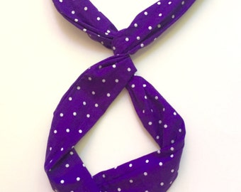 Accessories Top Knot Headband, Gift for Her Headband, Top Knot Headband Purple, Polka Dot Headband