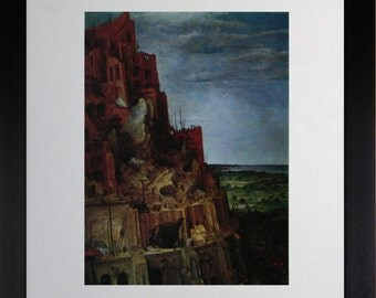 """Mounted and Framed - Detail From The Tower  of Babel Print by Bruegel - 14"""" x 11"""""""
