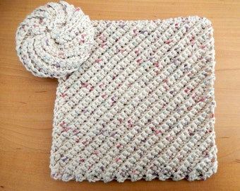 Dish Cloth and Spiral Scrubbie Scrubby Tawashi  Reusable Eco Friendly Cotton.. Ready to Ship