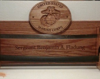 Carved Oak US Marine Corps NCO's Saber/Sword Rack