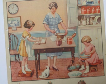 Stylish 1940s/50s print - Helping Mother