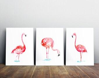 Flamingo Art - 3 Giclee Prints - Flamingo Painting - Home Decor - Wall Art Pink  Animal Painting flamingo Watercolour Zen painting