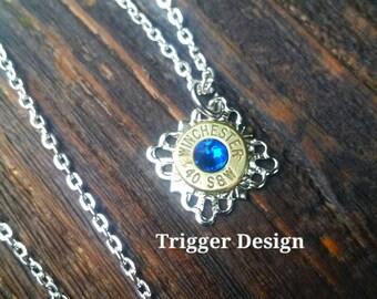 40 Caliber Bullet Necklace with Filigree Base Necklace - Dark Blue