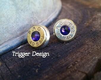 40 Caliber Bullet Casing Post Earrings- Purple