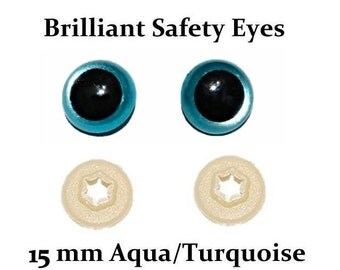 15mm Safety Eyes Aqua / Turquoise Brilliant with Round Pupil (One Pair)